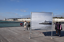 Simon Roberts photography exhibition on Hastings pier, East Sussex UK Oct 2016