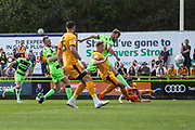Forest Green Rovers Christian Doidge(9) shoots at goal during the EFL Sky Bet League 2 match between Forest Green Rovers and Cambridge United at the New Lawn, Forest Green, United Kingdom on 22 April 2019.