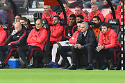Manchester United manager Jose Mourinho sitting in the dug out during the Premier League match between Bournemouth and Manchester United at the Vitality Stadium, Bournemouth, England on 3 November 2018.
