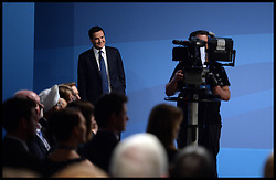 Chancellor of the Exchequer George Osborne waits to go on stage to deliver his speech at the Conservative Party Conference in Manchester, United Kingdom. Monday, 30th September 2013. Picture by Andrew Parsons / i-Images