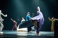 Dancers perform a section of Akram Khan Company's new production called iTMOi (in teh mind of igor) which runs at Sadler's Wells Theatre from 28 May - 1 June. The productio has been specially commissioned to celebrate the centenary of Igor Stravinky's The Right of Spring which falls on 29th May 2013. This features the fulll cast of dancers performing a scene called Ceremony accompanied by music by Nitin Sawhney.