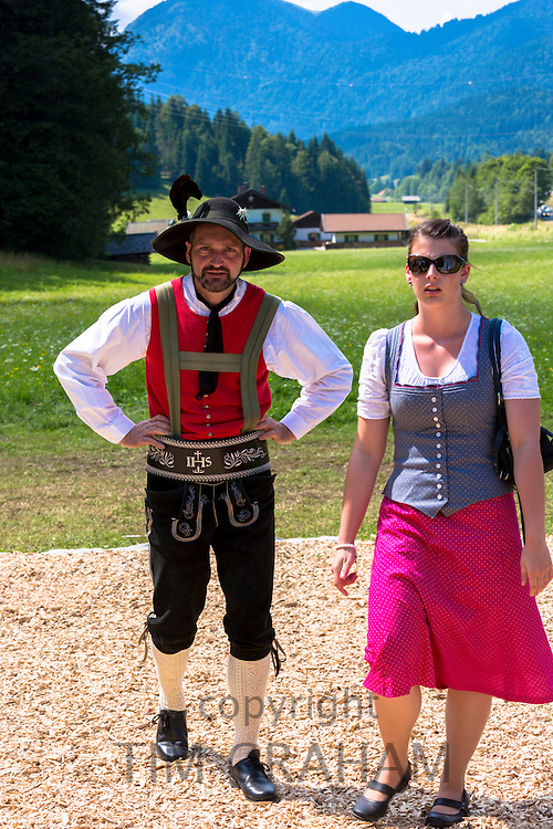 Young couple in costume for traditional beer festival in the village of Klais in Bavaria, Germany