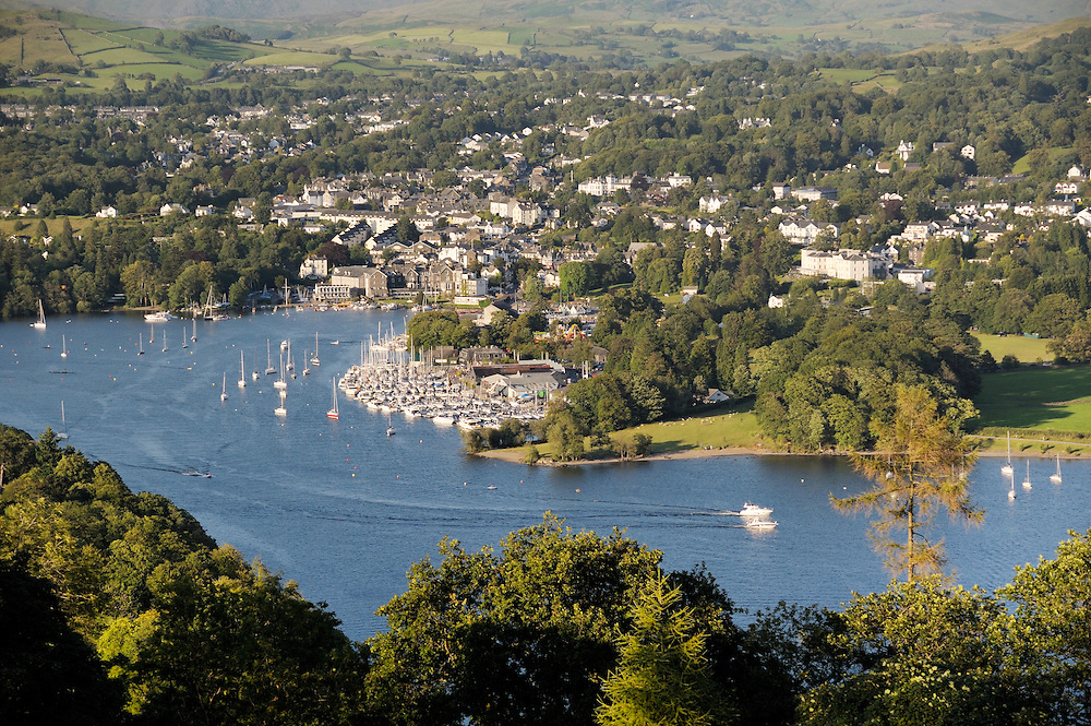 Windermere. Lake District National Park, Cumbria, England. N.E. over Bowness on Windermere boat moorings from above Far Sawrey