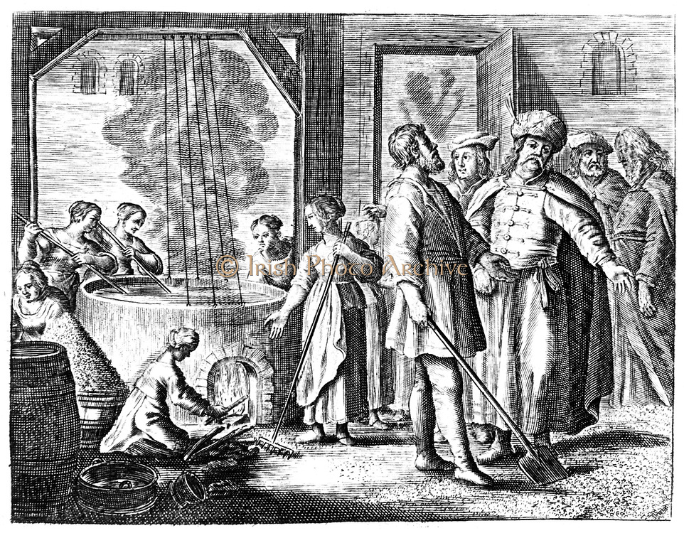 Salt Works:  on right quality of product is being shown to potential customer while, left, women are refining brine in a boiler. Eggs were sometimes added to brine and the impurities removed from surface with resulting scum.  From Johann van Beverwycks 'Schat der Gesontheyt', Amsterdam, 1660. Copperplate engraving.