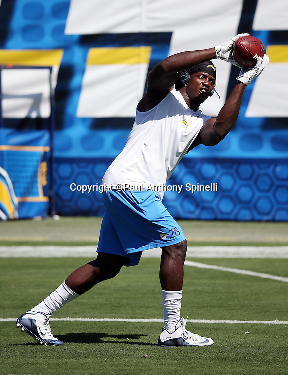San Diego Chargers running back Melvin Gordon (28) catches a pass in workout gear during pregame warmups before the 2015 NFL preseason football game against the Seattle Seahawks on Saturday, Aug. 29, 2015 in San Diego. The Seahawks won the game 16-15. (©Paul Anthony Spinelli)