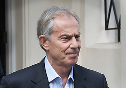 """© Licensed to London News Pictures. 06/07/2017. London, UK. Former Prime Minister Tony Blair is seen in central London. Earlier, Sir John Chilcot , head of the Iraq Inquiry, gave an interview in which he said Mr Blair was not """"straight with the nation"""" in his decisions in the run up to the Iraq war.  Photo credit: Peter Macdiarmid/LNP"""