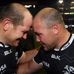 DURBAN, SOUTH AFRICA - JULY 15: Lourens Adriaanse with Kyle Cooper of the Cell C Sharks during the Super Rugby match between the Cell C Sharks and Sunwolves at Growthpoint Kings Park on July 15, 2016 in Durban, South Africa. (Photo by Steve Haag/Gallo Images)
