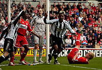 Photo: Jed Wee.<br /> Middlesbrough v Newcastle United. The Barclays Premiership. 09/04/2006.<br /> <br /> Newcastle's Titus Bramble (R) and Lee Bowyer (L) celebrate after pouncing on confusion in the Middlesbrough goalmouth to score the opening goal.