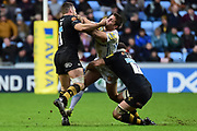 Wasps fly-half Jimmy Gopperth  makes the hit supported by Wasps flanker Thomas Young  during the Aviva Premiership match between Wasps and Exeter Chiefs at the Ricoh Arena, Coventry, England on 18 February 2018. Picture by Dennis Goodwin.