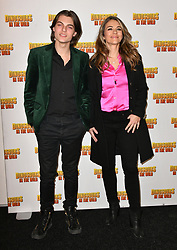 February 14, 2018 - London, London, United Kingdom - Dinosaurs In The Wild VIP preview. Damian Hurley, Elizabeth Hurley attend live-action theatre and theme park experience, set around the Late Cretaceous Period, marks its opening, at 02 Arena, Peninsula Square, London. (Credit Image: © Nils Jorgensen/i-Images via ZUMA Press)