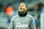 Fabian Schar (#5) of Newcastle United during the warmup ahead of the Premier League match between Newcastle United and Watford at St. James's Park, Newcastle, England on 3 November 2018.
