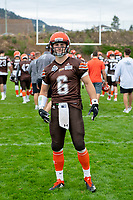 KELOWNA, BC - SEPTEMBER 8:  Ethan Newman #6 of Okanagan Sun poses for a photo pre game against the Langley Rams  at the Apple Bowl on September 8, 2019 in Kelowna, Canada. (Photo by Marissa Baecker/Shoot the Breeze)