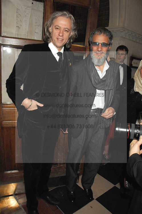 Left to right, SIR BOB GELDOF and YUSUF ISLAM former known as Cat Stevens at the 2nd Fortune Forum Summit and Gala Dinner held at the Royal Courts of Justice, The Strand, London on 30th November 2007.<br /><br />NON EXCLUSIVE - WORLD RIGHTS