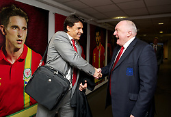 SWANSEA, WALES - Tuesday, March 26, 2013: FAW President Trevor Lloyd-Hughes with manager Chris Coleman pictured before the 2014 FIFA World Cup Brazil Qualifying Group A match against Croatia at the Liberty Stadium. (Pic by David Rawcliffe/Propaganda)