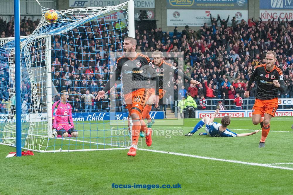 Kieron Freeman of Sheffield United celebrates after scoring his sides first goal during the Sky Bet League 1 match at the b2net stadium, Chesterfield<br /> Picture by Matt Wilkinson/Focus Images Ltd 07814 960751<br /> 13/11/2016