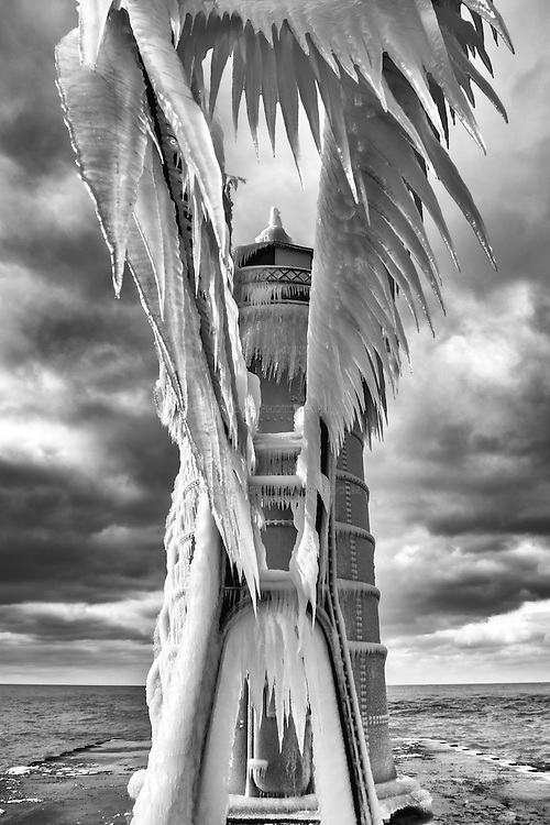 Dagger-like icicles dangle from the the catwalk leading to South Haven's lighthouse.