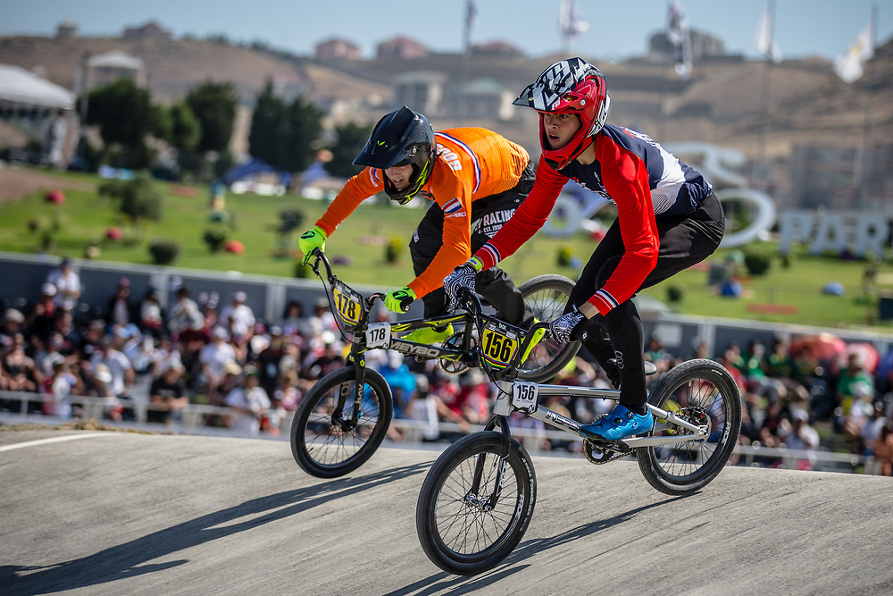 15 Boys #178 (GOOSSENS Tim) NED and 15 Boys #156 (LETELLIER Thomas) FRA at the 2018 UCI BMX World Championships in Baku, Azerbaijan.