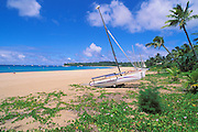 Sailboats on the beach at Hanalei Bay, North Shore, Island of Kauai, Hawaii