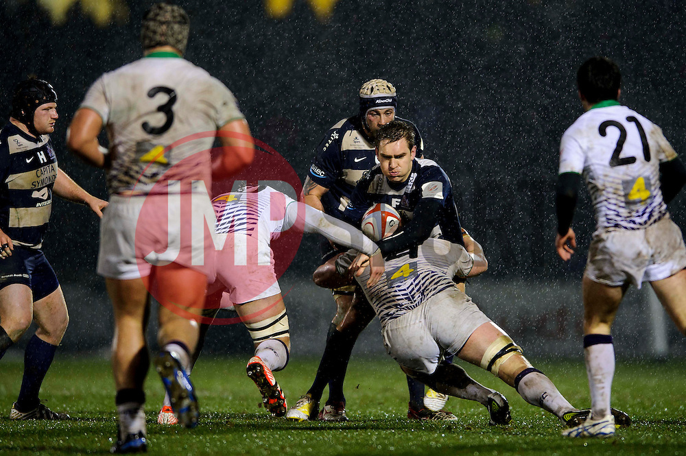 Bristol Fly-Half (#10) Adrian Jarvis is tackled by Leeds Carnegie Lock (#4) Calum Green during the second half of the match - Photo mandatory by-line: Rogan Thomson/JMP - Tel: Mobile: 07966 386802 25/01/2013 - SPORT - RUGBY - Memorial Stadium - Bristol. Bristol v Leeds Carnegie - RFU Championship.