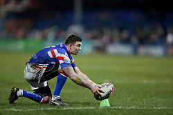Wakefield Trinity's Danny Brough places the ball to convert during the Betfred Super League match at Belle Vue, Wakefield.
