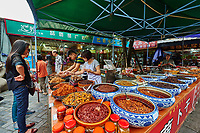 Chengdu, China - September 19, 2014: traditional spicy food Sichuan cuisine Wenshu monastery pedestrian area in Chengdu China