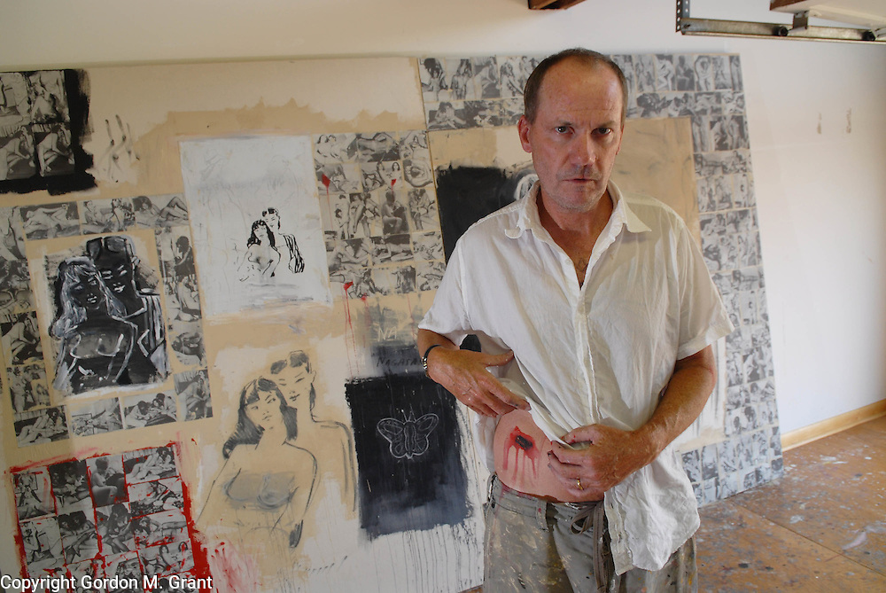 Sagaponack, NY - 8/10/06 -   The artist Richard Prince, with fake &quot;Hara-kari&quot; wound, in honor of Madame Butterfly, in his studio at his home  in Sagaponack, NY August 10, 2006.    (Photo by Gordon M. Grant)<br />
