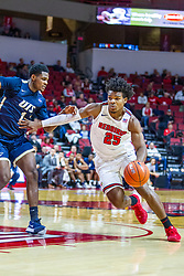 NORMAL, IL - November 29: Jaycee Hillsman drives in on Keymonta Johnson during a college basketball game between the ISU Redbirds and the Prairie Stars of University of Illinois Springfield (UIS) on November 29 2019 at Redbird Arena in Normal, IL. (Photo by Alan Look)