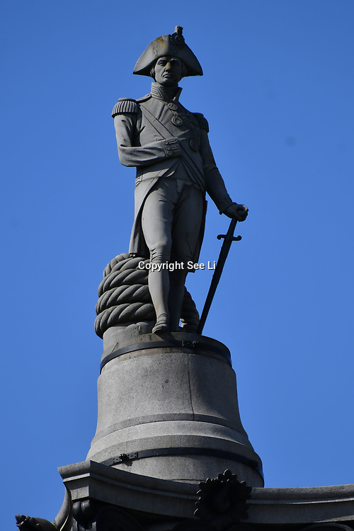 Nelson's Column in Trafalgar Square, on 27 June 2019, London, UK