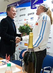 Primoz Ulaga and Petra Majdic at press conference on the day of her birthday, after she came back from Dusseldorf, where she won the sprint race, on December 22, 2008, Ljubljana, Slovenia. (Photo by Vid Ponikvar / SportIda).