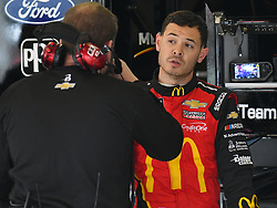 February 23, 2019 - Hampton, GA, U.S. - HAMPTON, GA - FEBRUARY 23: Kyle Larson, Chip Ganassi Racing, Chevrolet Camaro McDonald's (42) talks to crew chief Chad Johnston during practice for the Monster Energy Cup Series QuikTrip Folds of Honor 500 on February 23, 2019, at Atlanta Motor Speedway in Hampton, GA.(Photo by Jeffrey Vest/Icon Sportswire) (Credit Image: © Jeffrey Vest/Icon SMI via ZUMA Press)