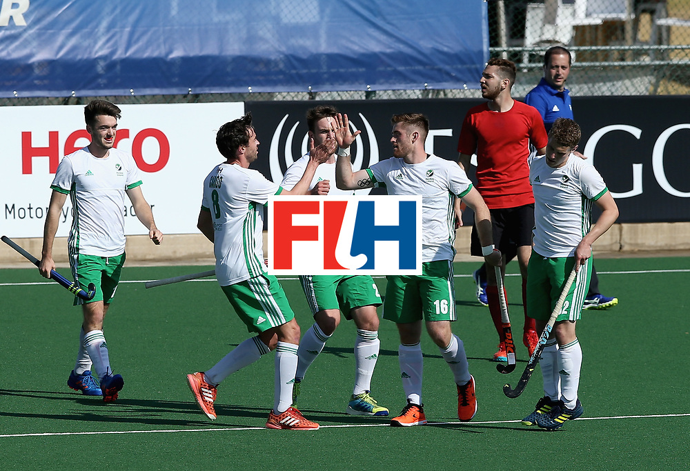 JOHANNESBURG, SOUTH AFRICA - JULY 13: Shane O'Donoghue of Ireland celebrates scoring their teams second goal  with teammates during day 3 of the FIH Hockey World League Semi Finals Pool B match between Ireland and Egypt at Wits University on July 13, 2017 in Johannesburg, South Africa. (Photo by Jan Kruger/Getty Images for FIH)