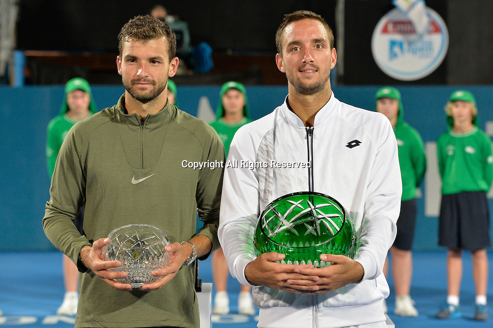 16.01.16 Sydney, Australia. Viktor Troicki (SRB) wins the mens singles title defeating Grigor Dimitrov (BUL) in the mens singles final match at the Apia International Sydney. Troicki won the final 2-6,6-1,7-6.