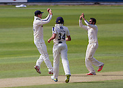 Adil U Rashid (Bowler) celebrates with Alex Z Lees (Yorkshire CCC)after he caught Keaton Jennings (Durham County Cricket Club) in the second innings during the LV County Championship Div 1 match between Durham County Cricket Club and Yorkshire County Cricket Club at the Emirates Durham ICG Ground, Chester-le-Street, United Kingdom on 30 June 2015. Photo by George Ledger.