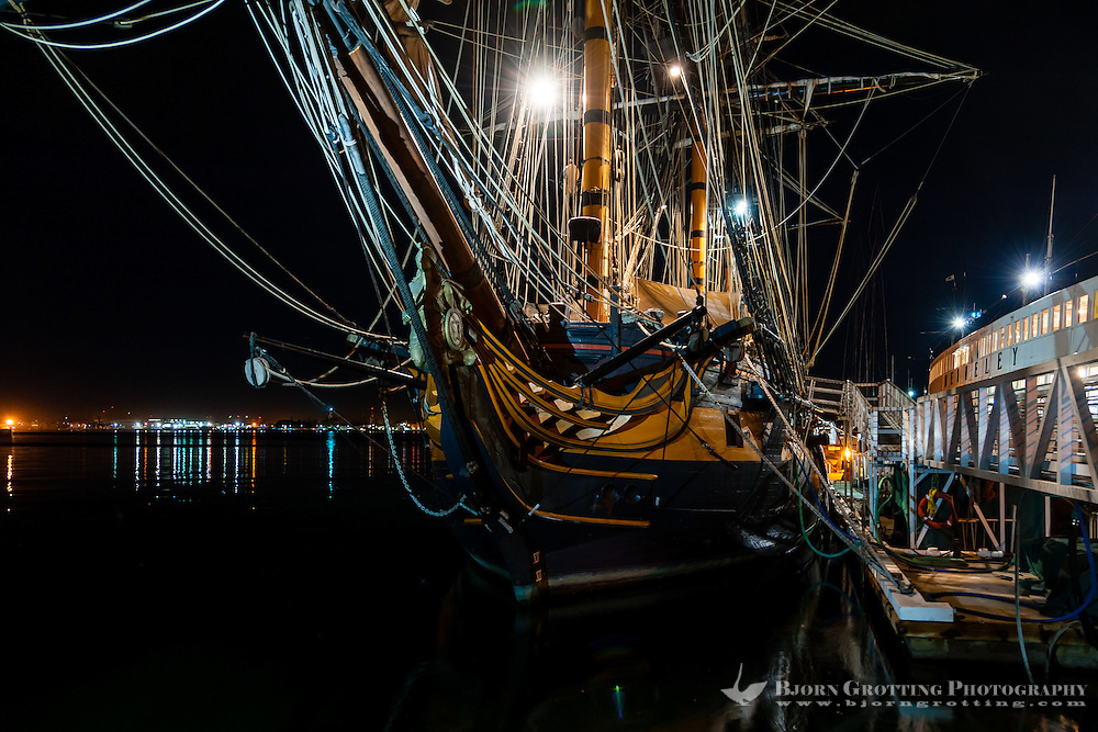 United States, California, San Diego. The Marina district in Downtown San Diego. The Maritime Museum of San Diego. HMS Surprise, a 1970 replica of a Royal Navy frigate.