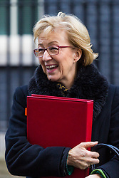 London, December 19 2017. Leader of the House of Commons Andrea Leadsom leaves 10 Downing Street following the last cabinet meeting before the Christmas break. © Paul Davey