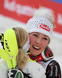 16.02.2013, Planai, Schladming, AUT, FIS Weltmeisterschaften Ski Alpin, Slalom, Damen, Siegerpraesentation, im Bild Mikaela Shiffrin (USA, 1. Platz), die Michaela Kirchgasser (AUT, 2. Platz) umarmt // 1st place Mikaela Shiffrin of United States hugs 2nd place Michaela Kirchgasser of Austria on Winners Presentation during womens Slalom at the FIS Ski World Championships 2013 at the Planai Course, Schladming, Austria on 2013/02/16. EXPA Pictures © 2013, PhotoCredit: EXPA/ Martin Huber
