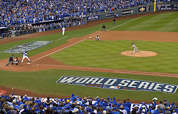 Oct 29, 2014; Kansas City, MO, USA; San Francisco Giants pitcher Madison Bumgarner throws a pitch against the Kansas City Royals in the 9th inning during game seven of the 2014 World Series at Kauffman Stadium. Mandatory Credit: Denny Medley-USA TODAY Sports