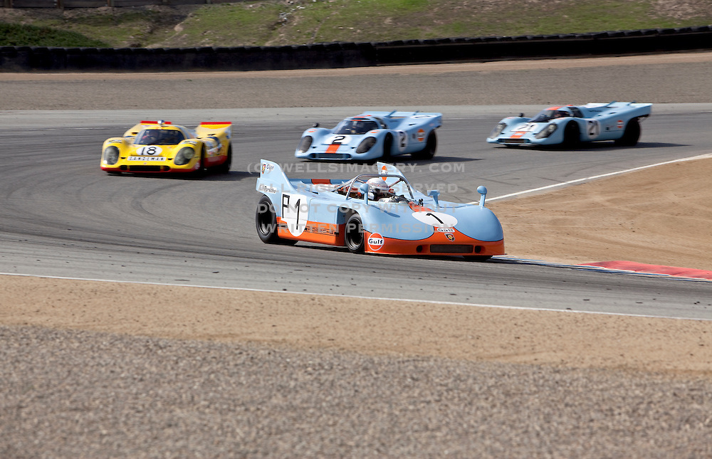 Image of Porsche 917s racing at Rennsport Reunion IV, Laguna Seca, California, America west coast