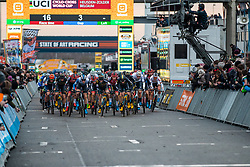 Start of the Men Elite race, 2019 UCI Cyclo-cross World Cup Heusden-Zolder, Belgium, 26 December 2019. <br /> <br /> Photo by Pim Nijland / PelotonPhotos.com <br /> <br /> All photos usage must carry mandatory copyright credit (Peloton Photos | Pim Nijland)
