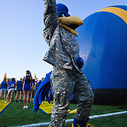University of Delaware mascot UDEE  pumps up the students section before the start of  a Week 2 NCAA football game against Westchester. ..#8 Delaware defeated Westchester 31-10  in their home opener at Delaware Stadium Saturday Sept. 10, 2011 in Newark DE...Delaware will return home Sept. 17, 2011 for a showdown with interstate Rival Delaware State at 6:pm at Delaware Stadium. (Monsterphoto/Saquan Stimpson)