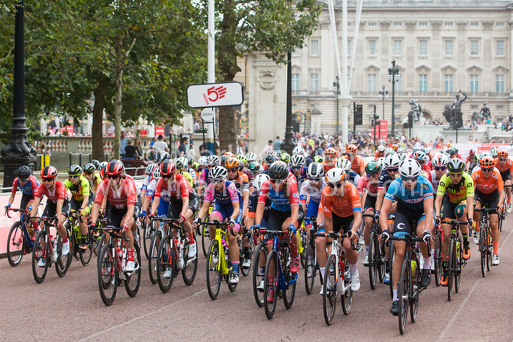 London, UK. 3 August, 2019. Riders from sixteen of the world's top professional female cycling teams ride down the Mall during the Prudential RideLondon Classique. The Classique, which is the richest one-day women's race in the world, covers 20 laps of a tight circuit of 3.4 kilometres around St James's Park and Constitution Hill.