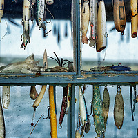 Hooks and lures in a fishing shack window, Menemsha, Cillmark, Martha's Vineyard, Massachusetts