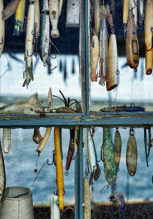 Hooks and lures in a fishing shack window, Menemsha, Cillmark, Martha's Vineyard, Massachusetts