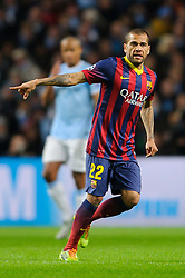 Barcelona Defender Daniel Alves (BRA) points - Photo mandatory by-line: Rogan Thomson/JMP - Tel: 07966 386802 - 18/02/2014 - SPORT - FOOTBALL - Etihad Stadium, Manchester - Manchester City v Barcelona - UEFA Champions League, Round of 16, First leg.