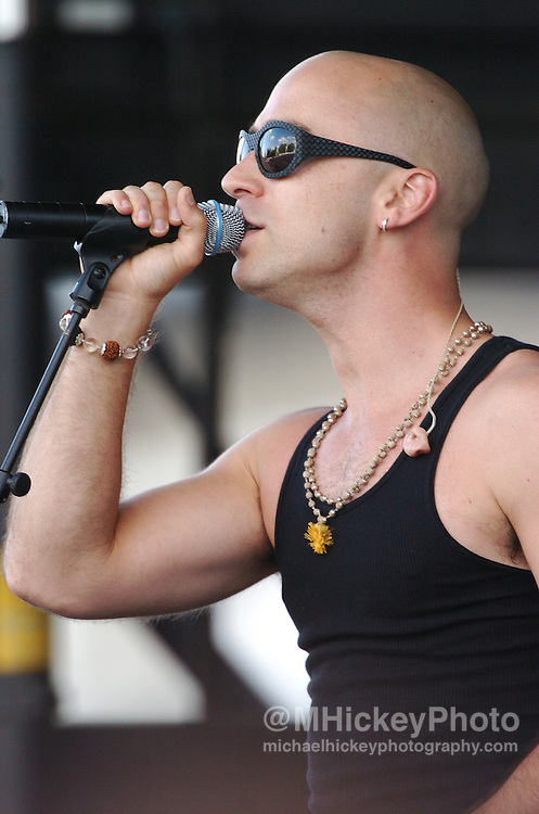 """Ed Kowalczyk of the band """"Live"""" performs at the Indianapolis Motor Speedway on Carbueration Day. Photo by Michael Hickey"""