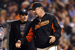 SAN FRANCISCO, CA - APRIL 18:  Bruce Bochy #15 of the San Francisco Giants argues with umpire Brian Knight #91 during the second inning against the Arizona Diamondbacks at AT&T Park on April 18, 2016 in San Francisco, California.  (Photo by Jason O. Watson/Getty Images) *** Local Caption *** Bruce Bochy ; Brian Knight