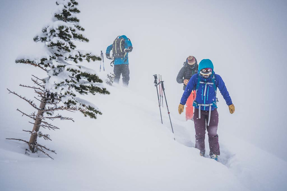 Greybird and cold. Emily Bodner heats from within near Pass Peak, Howson Range, British Columbia.