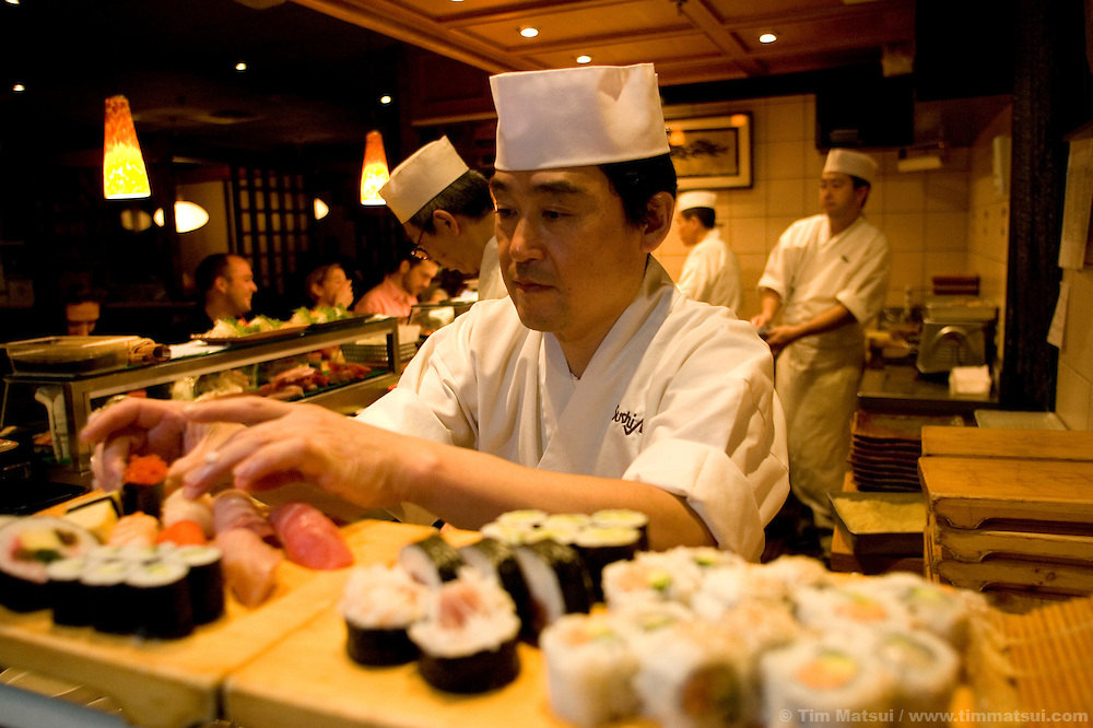 Sushi chefs Etsuo Shoda at Sushi Village at the Trattoria, a restaurant  at Whistler-Blackcomb ski resort in British Columbia, Canada.