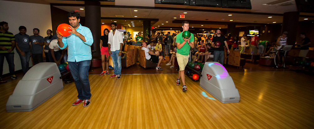 Sunburst Festival at Union South, held on Aug 31, 2015. Students bowling at cosmic bowling in Sett Rec.