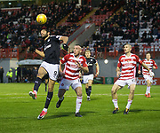 27th January 2018, SuperSeal Stadium, Hamilton, Scotland; Scottish Premiership football, Hamilton Academical versus Dundee; Dundee's Sofien Moussa beats Hamilton Academical's Darian MacKinnon in the air